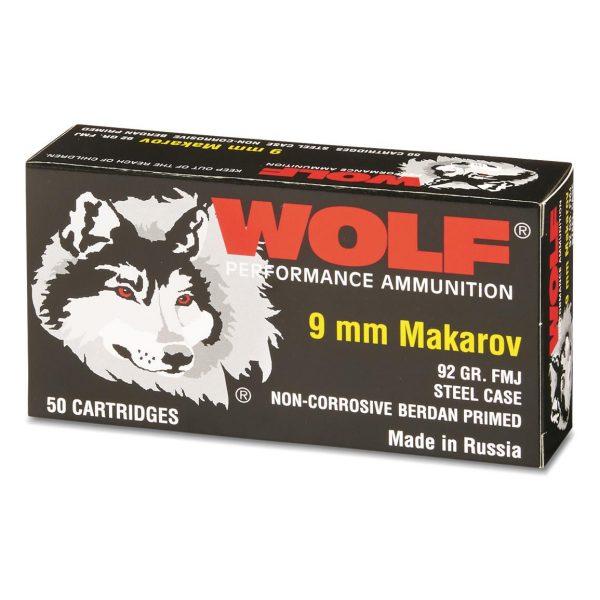 Wolf, 9x18mm Makarov, FMJ, 92 Grain, 500 Rounds
