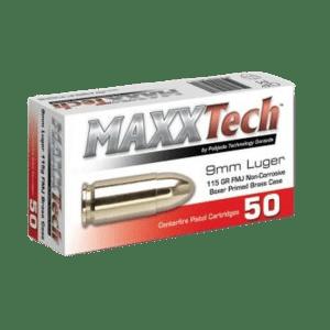 MAXXTECH 9MM AMMUNITION 500 ROUNDS BOX BRASS CASING