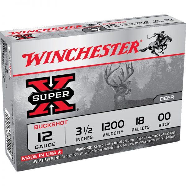 "Winchester Super-X 12 Gauge Shotshell 50 Rounds 3 1/2"" 00 Lead Buck Shot 18 Pellets"
